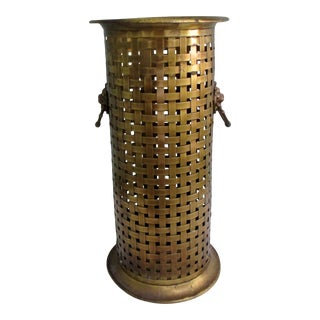 1960s Mid-Century Modern Solid Brass Basket Weave Umbrella Stand With Lion Head Ring Handles For Sale