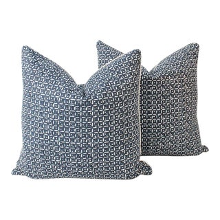 Indigo Abstract Linen Blend Squares Pillows, a Pair For Sale