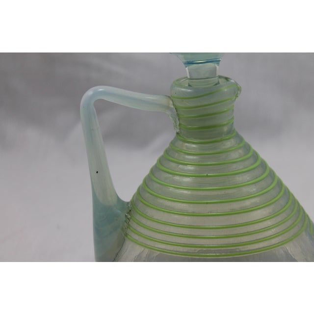 Art Deco Era Frederick Carder's Steuben Opalescent Threaded Art Glass Decanter For Sale In Miami - Image 6 of 11