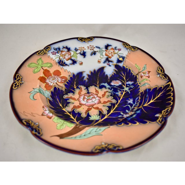 Chinoiserie Mid 19th C. John Ridgway English Chinoiserie Style Imari Floral Plates, S/8 For Sale - Image 3 of 13