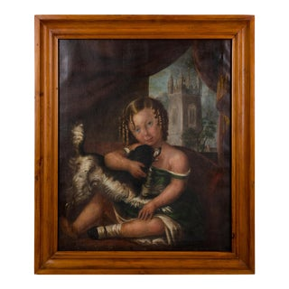 1840s American Girl With Dog Portrait Painting