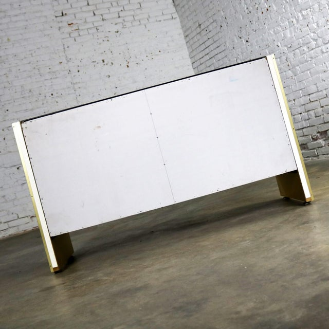 Ello Black Glass and Gold Anodized Aluminum Small Server Credenza Cabinet For Sale - Image 6 of 13