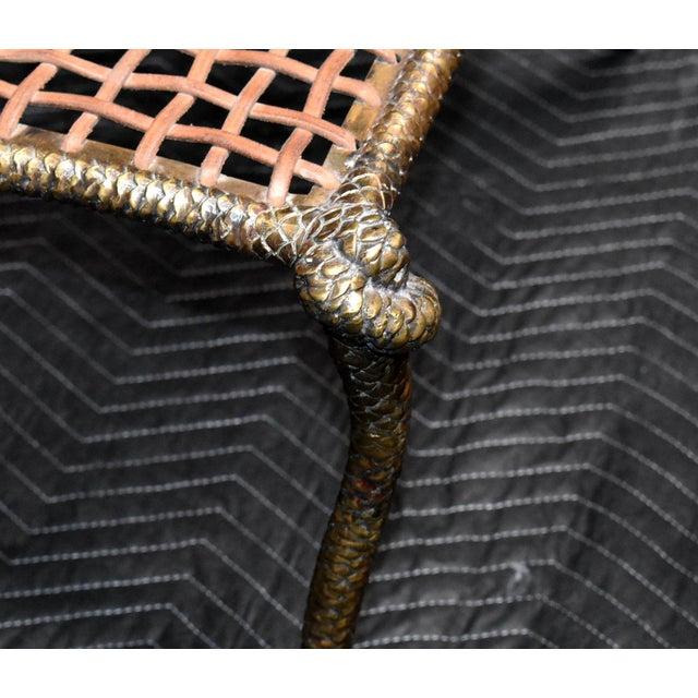 "Sculptural ""Snake"" Design Brass Desk or Bedroom Chair For Sale In Palm Springs - Image 6 of 9"