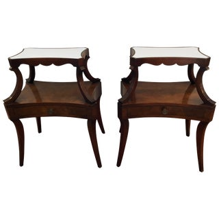 Pair of Fine Grosfeld House Crotch Mahogany Two-Tier Nightstands End Side Tables For Sale