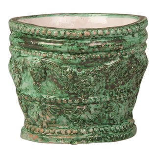 1950s Solimene Workshop Italian Green Glazed Ceramic Cachepot For Sale