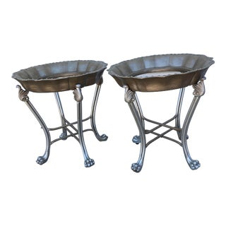 Round Silver Metal Claw Foot Plant Stands - a Pair For Sale