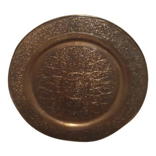 Mid 19th Century Vintage Islamic or Egyptian Mamluk Bronze Gold Gilt Tray 36 Inch For Sale
