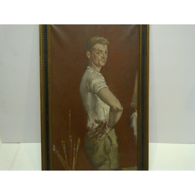 "1960s ""The Painters Boyfriend"" Signed Framed Painting on Canvas by Frederick McDuff For Sale - Image 4 of 9"