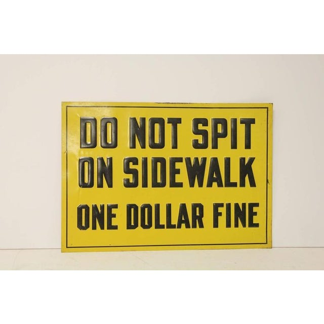 """1930s Embossed Metal Sign """"One Dollar Fine"""" - Image 2 of 2"""