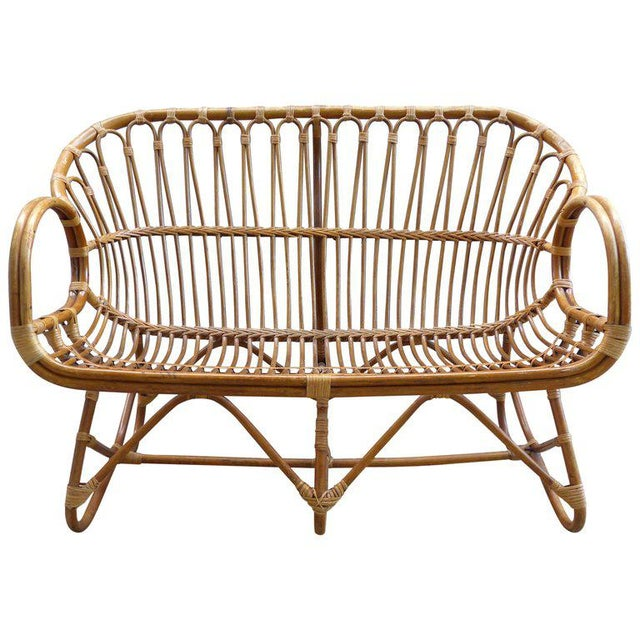 1970s Italian Bent Rattan Loveseat For Sale - Image 11 of 11
