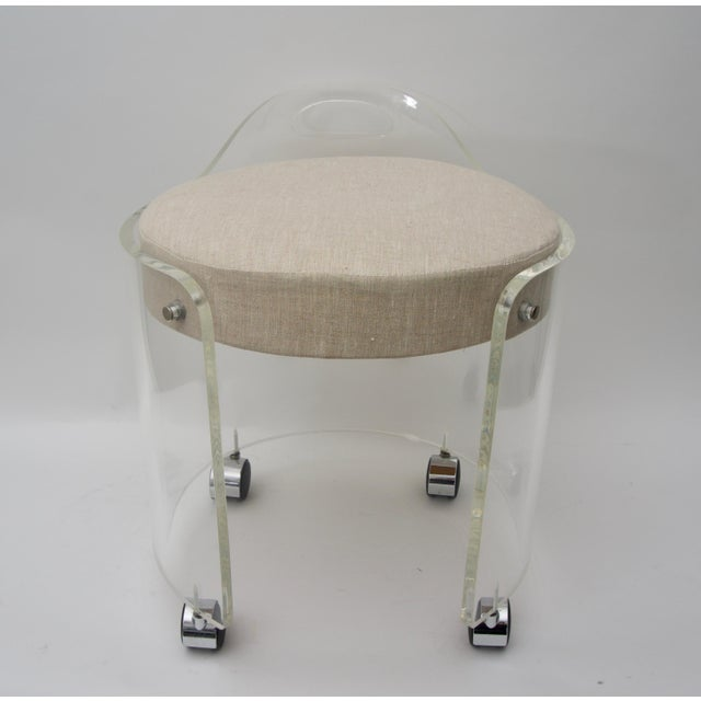 Round Lucite Vanity Chair by Charles Hollis Jones 1970s For Sale - Image 9 of 9