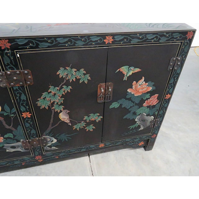 Asian Paint Decorated Cabinet For Sale - Image 4 of 11