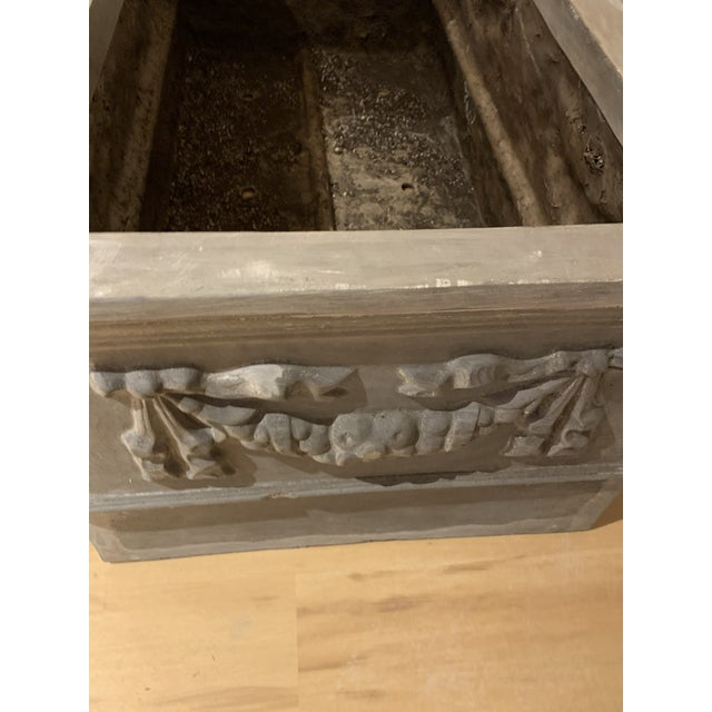 Metal Grand Classical Planters With Swag Detailing in Faux Lead Resin - a Pair For Sale - Image 7 of 10