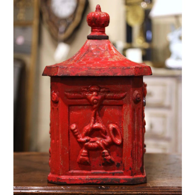 English 19th Century English Red Painted Cast Iron Mailbox With Relief Decor For Sale - Image 3 of 10