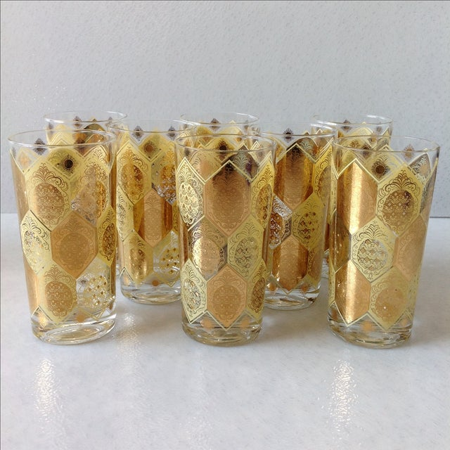 Mid-Century Gold Pineapple Tumblers - Set of 8 - Image 8 of 9