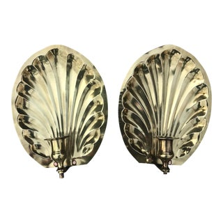 Vintage Brass Shell Wall Candlestick Holders - a Pair For Sale