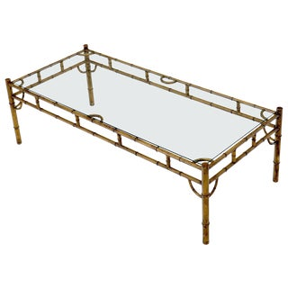 Metal Gilt Faux Bamboo Rectangular Frame Glass Top Coffee Table For Sale