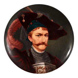 19th Century European Portrait Hand Painted Porcelain Wall Charger For Sale