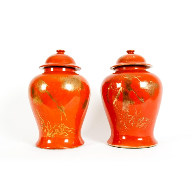 Oriental Porcelain Decorative Covered Urns - a Pair For Sale - Image 13 of 13