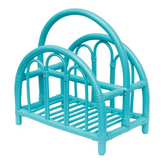Teal Bamboo Magazine Rack