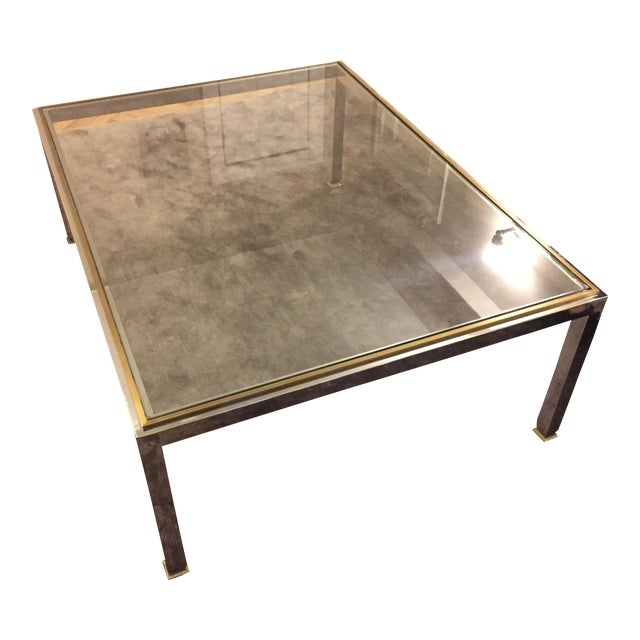 Modern Brass and Chrome Coffee Table - Image 1 of 4