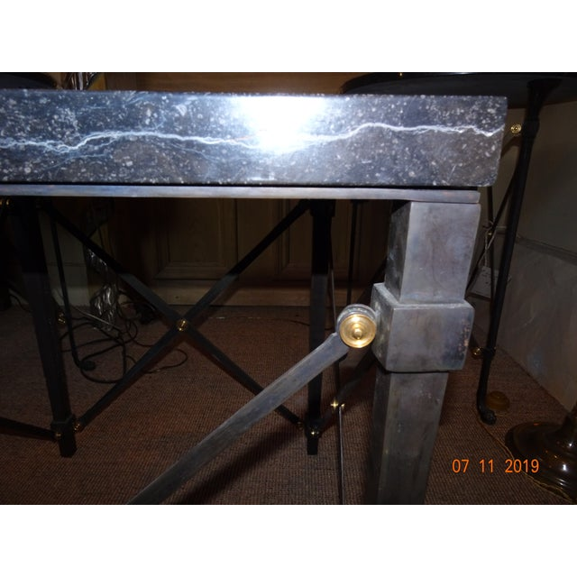 Metal Contemporary Marble Side Table For Sale - Image 7 of 13