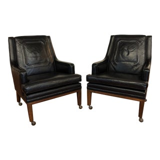 Monteverdi-Young Vintage Black Leather Club Chairs on Wheels - a Pair For Sale