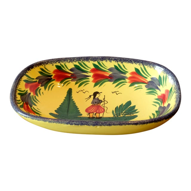 Antique French Quimper Hand Painted Tray For Sale