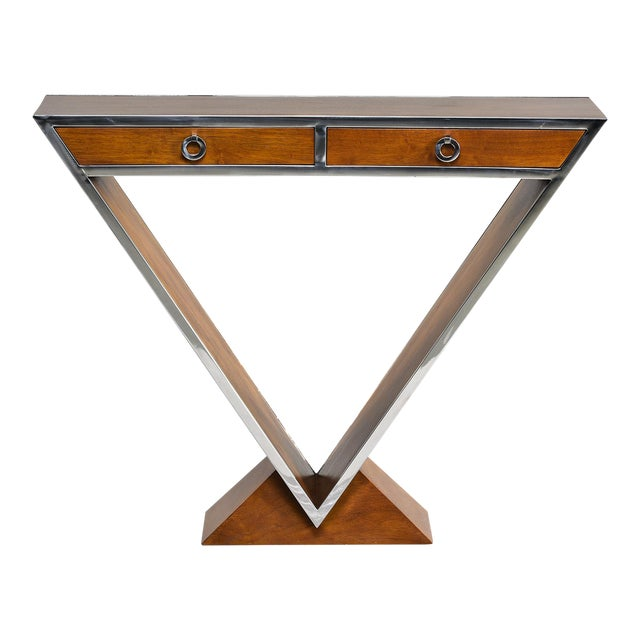 Brazilian Teak and Chrome Console With Triangular Base For Sale