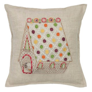 Contemporary Linen Gingerbread House Pocket Pillow For Sale
