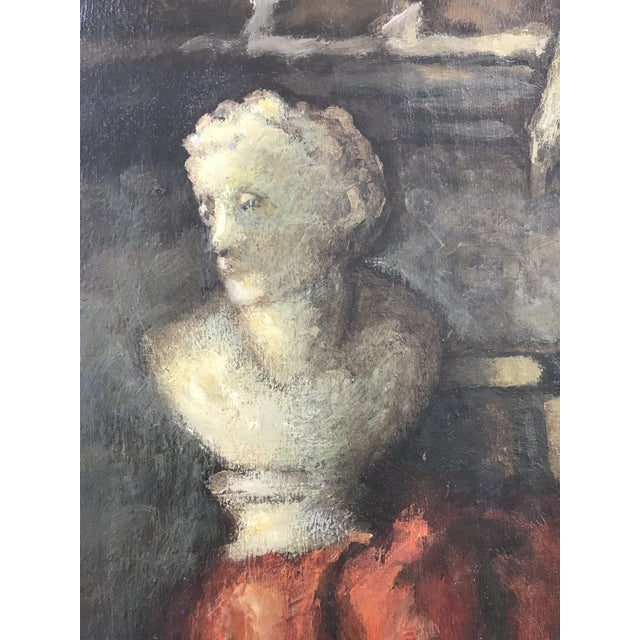 Gray 1950s Vintage Still Life with Marble Bust Framed Oil Painting For Sale - Image 8 of 10