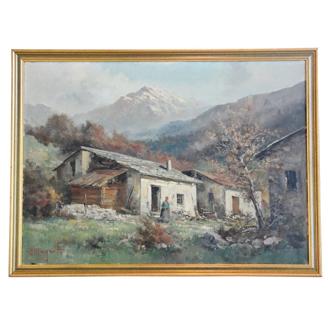 Rustic Framed Country Cottage Landscape Oil Painting For Sale