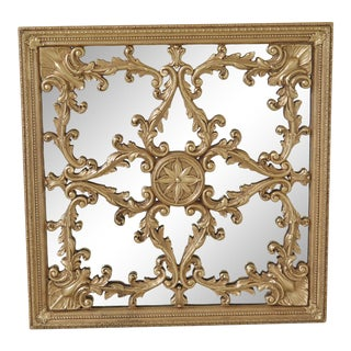 Friedman Brothers Square Plaque Gold Mirror For Sale