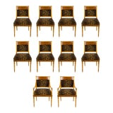 Image of 1950s Vintage Biedermeier Cheetah Print Dining Chairs - Set of 10 For Sale