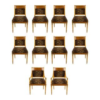 1950s Vintage Biedermeier Cheetah Print Dining Chairs - Set of 10 For Sale