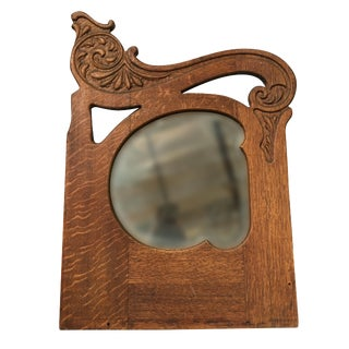 Art Nouveau Hand Carved Walnut Wall Mirror For Sale
