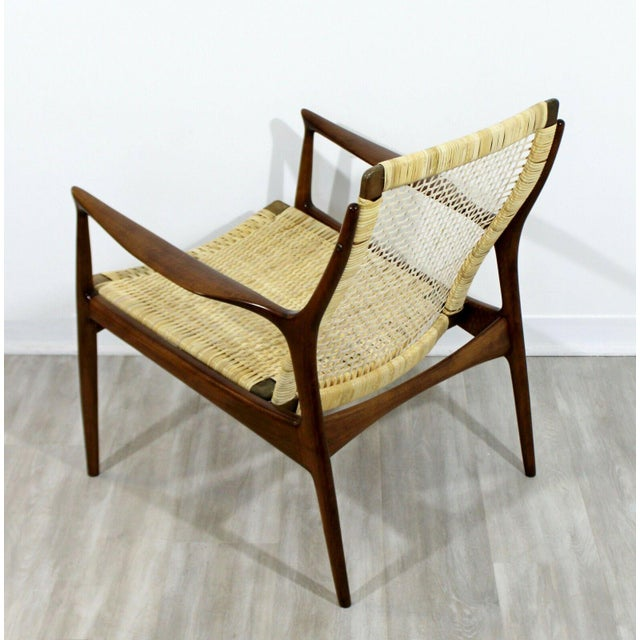 Mid Century Modern Danish Kofod Larsen Cane Lounge Armchair 1960s For Sale - Image 9 of 10
