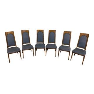 Mastercraft Vintage High Back Amboyna Burl Dining Chairs - Set of 6 For Sale