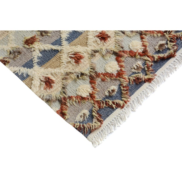"Textile Moroccan High and Low Arya Moshe Ivory & Rust Wool Rug - 5'5"" X 8'3"" For Sale - Image 7 of 7"