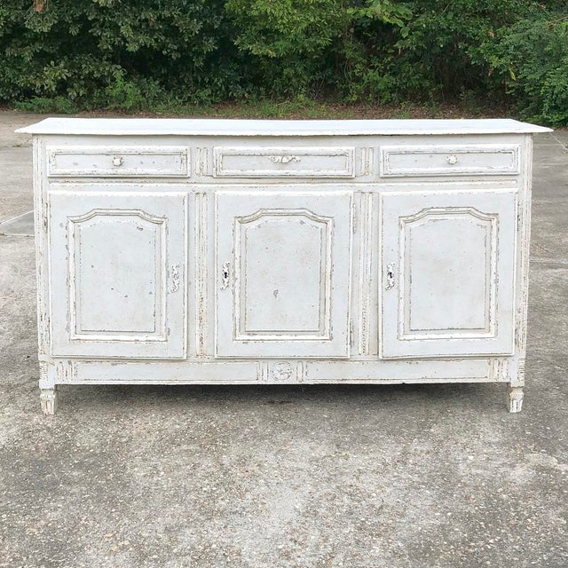 18th Century Country French Louis XVI Painted Buffet For Sale - Image 4 of 13