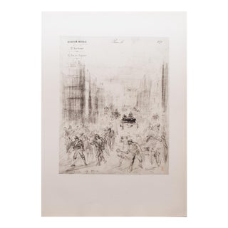 1959 Jean-Baptiste Carpeaux, Parisian Street Scene Original Photogravure Print For Sale
