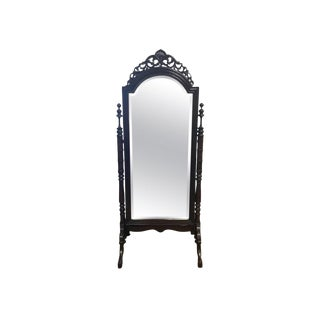 Regency Ornate Carved Mahogany Cheval Floor Mirror For Sale