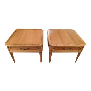 1960s Thomasville Classic Fruitwood End Tables - a Pair For Sale