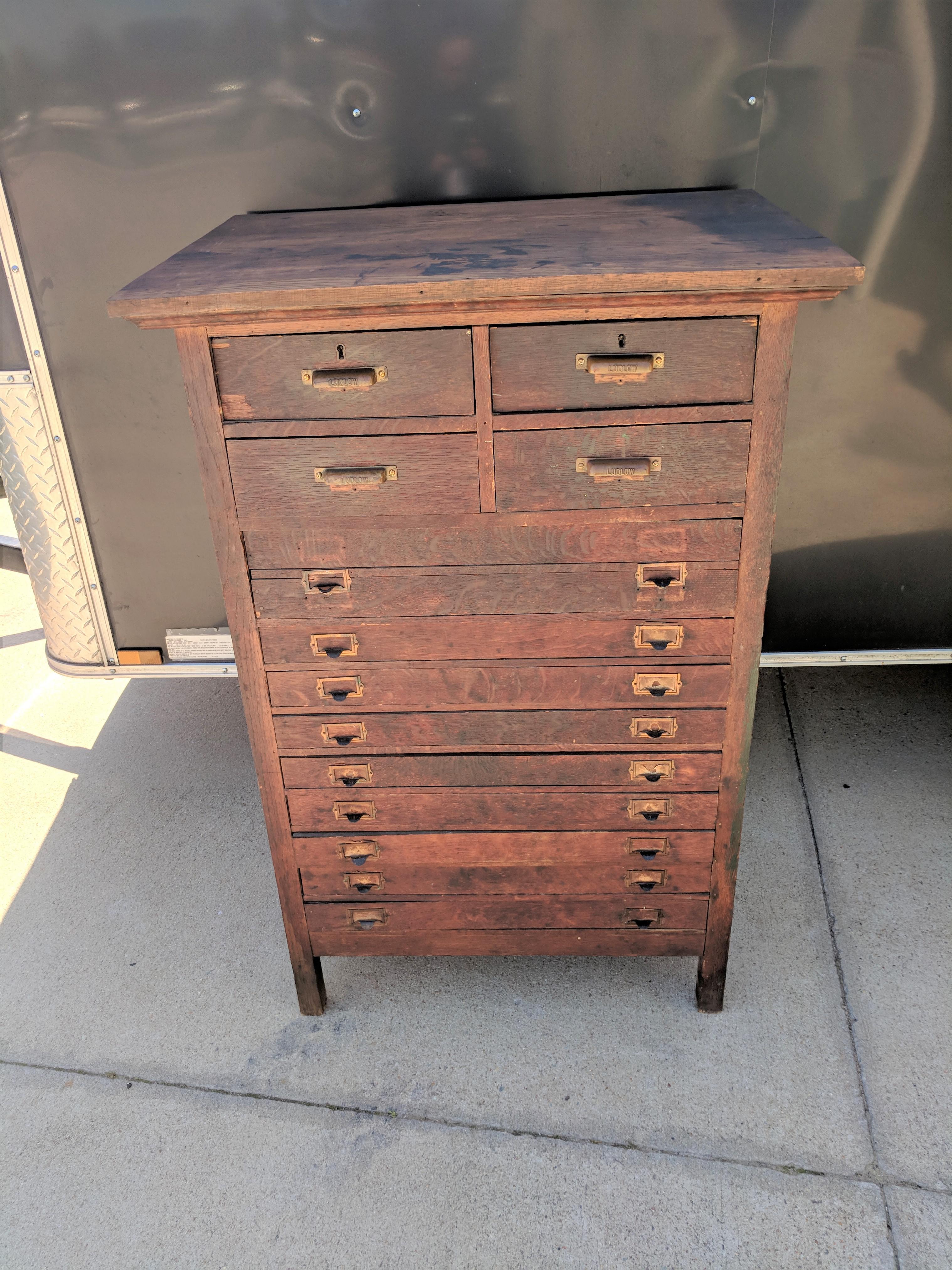 Antique Vintage Industrial Wood Printers Cabinet / Work Station / Desk By  Elkin Furniture Co.