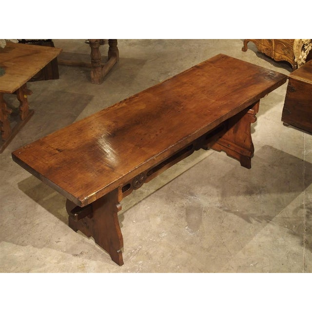Antique Walnut Refectory Table From Tuscan Mountain Region C. 18th Century For Sale - Image 4 of 13