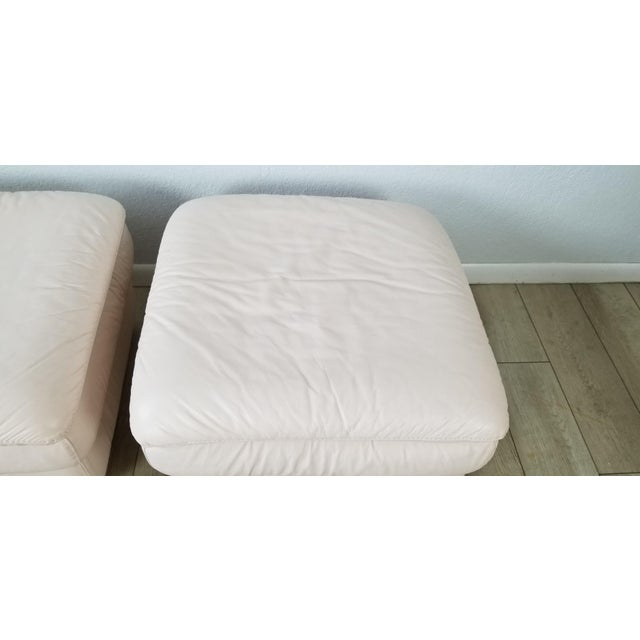 Pink 80s Italian Postmodern Style Leather Ottomans. - a Pair For Sale - Image 8 of 13