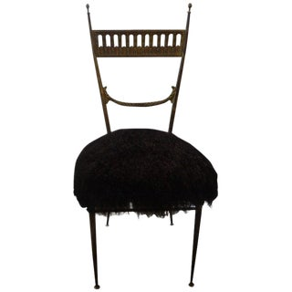 Italian Brass Chiavari Chair Upholstered in Black Mongolian Lambs Wool For Sale
