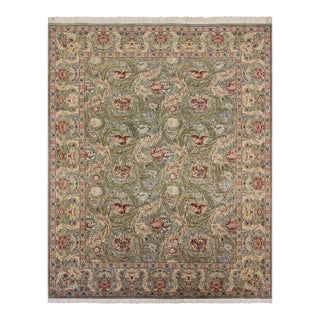 Marry Gold Pak-Persian Albertha Light Green & Red Wool Rug - 10'0 X 15'11 For Sale