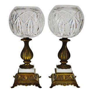 Vintage Cut Glass Compotes With Italian Marble Bases - a Pair For Sale