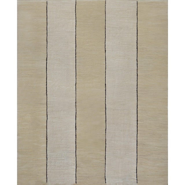 Beige 1930s Handwoven Wool Vertical Striped Deco Rug For Sale - Image 8 of 8